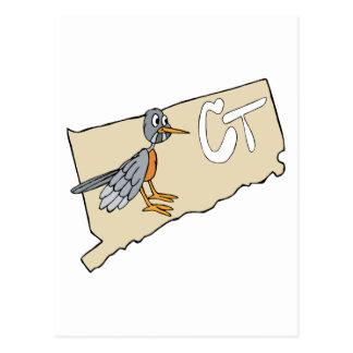 Connecticut CT Map & Red Robin Cartoon Postcard