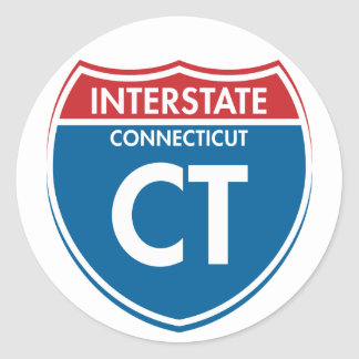 Connecticut de un estado a otro CT Pegatina Redonda