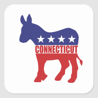 Connecticut Democrat Donkey Square Sticker