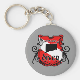 Connecticut Diver Keychain Round Keychain <  < Scuba Diving T-Shirts & Gifts
