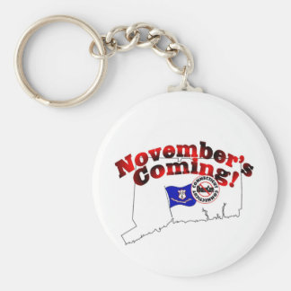 ¡Connecticut el venir anti de ObamaCare - de Llavero Redondo Tipo Pin