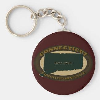 Connecticut Est. 1788 Basic Round Button Keychain