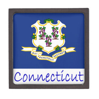 Connecticut Flag And Name Premium Jewelry Box