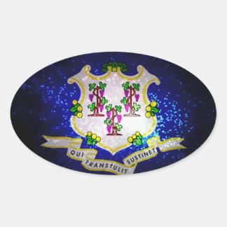 Connecticut Flag Firework Oval Sticker