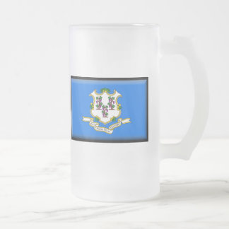 Connecticut Flag Frosted Glass Beer Mug