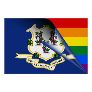 Connecticut Flag Gay Pride Rainbow Poster