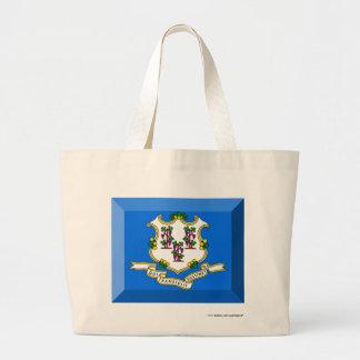Connecticut Flag Gem Canvas Bags