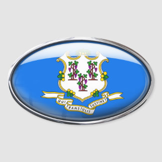 Connecticut Flag Glass Oval Oval Stickers