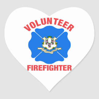 Connecticut Flag Volunteer Firefighter Cross Heart Stickers