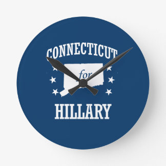 CONNECTICUT FOR HILLARY ROUND WALL CLOCK