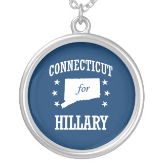 CONNECTICUT FOR HILLARY ROUND PENDANT NECKLACE