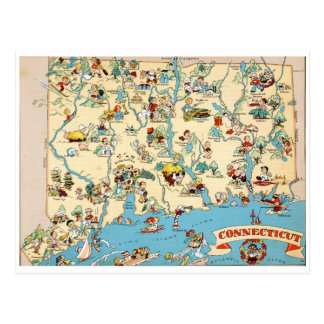 Connecticut Funny Vintage Map Postcard