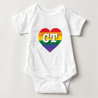 Connecticut Gay Pride Rainbow Heart - Big Love Baby Bodysuit
