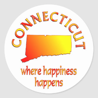 CONNECTICUT Happiness Classic Round Sticker