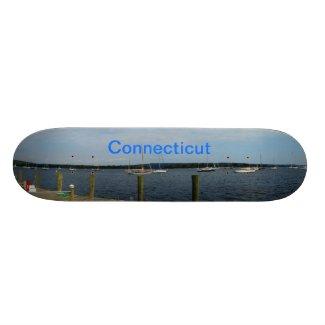 Connecticut harbor on a skateboard. skateboard