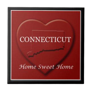 Connecticut Heart Map Sweet Home Decor Tile