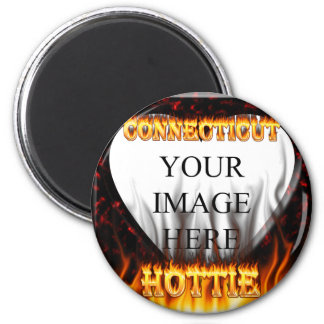 Connecticut hottie fire and flames 2 inch round magnet