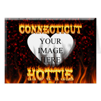 connecticut hottie fire and flames design greeting card