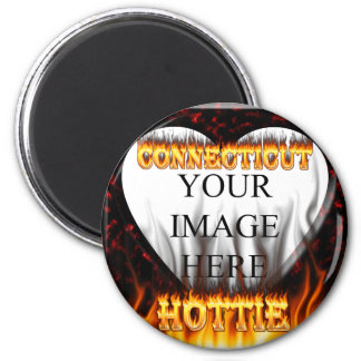 connecticut hottie fire and flames design magnet