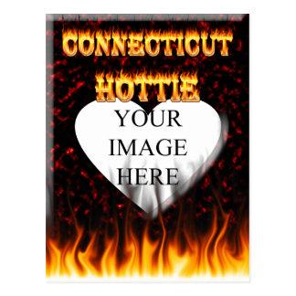 connecticut hottie fire and flames design postcard