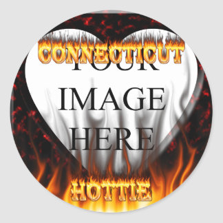 connecticut hottie fire and flames design round stickers