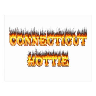 Connecticut hottie fire and flames postcard