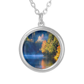 Connecticut Leaves Changing Round Pendant Necklace