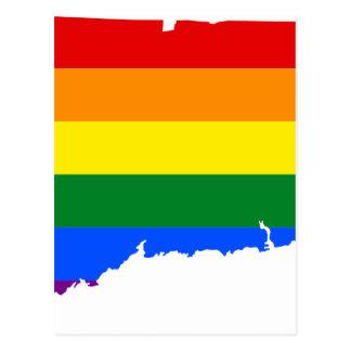 Connecticut LGBT Flag Map Postcard