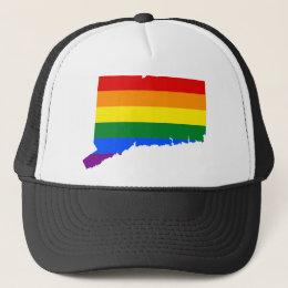 Connecticut LGBT Flag Map Trucker Hat