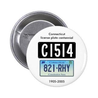 Connecticut license plate centennial pinback button