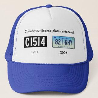 Connecticut license plate centennial trucker hat