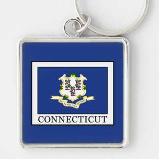 Connecticut Llavero Cuadrado Plateado