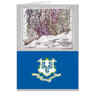 Connecticut Map and State Flag Card
