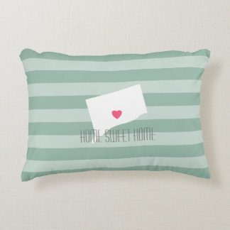 Connecticut Map Home State Love with Custom Heart Decorative Pillow