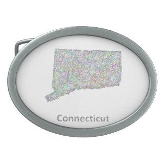 Connecticut map oval belt buckle
