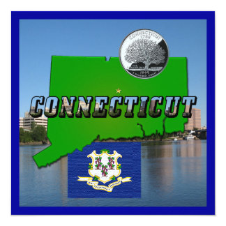 Connecticut' Map, Text, Quarter, Flag and Scenery Card