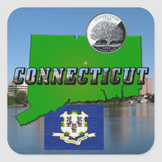 Connecticut' Map, Text, Quarter, Flag and Scenery Square Sticker