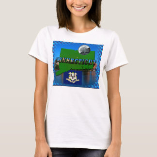 Connecticut' Map, Text, Quarter, Flag and Scenery T-Shirt