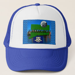 Connecticut' Map, Text, Quarter, Flag and Scenery Trucker Hat
