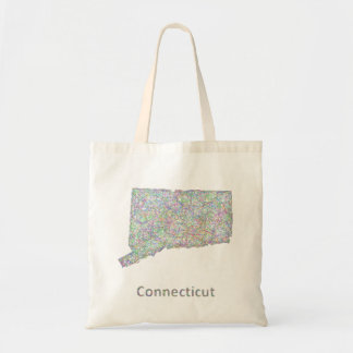 Connecticut map tote bag