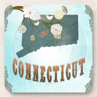 Connecticut Map With Lovely Birds Coaster