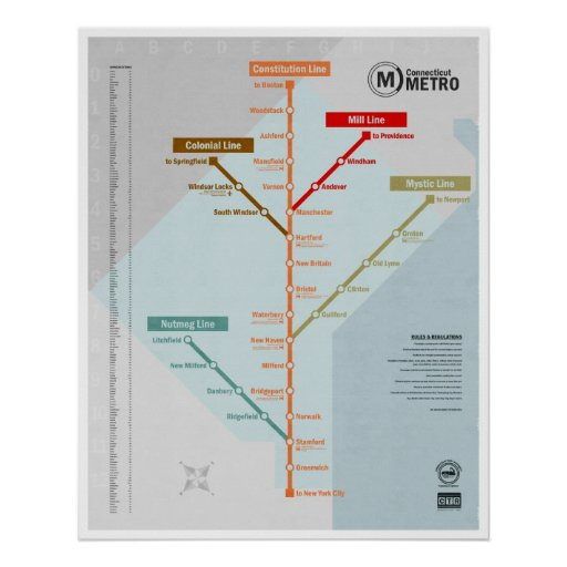 Connecticut Metro Map Posters