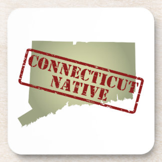 Connecticut Native Stamped on Map Coaster