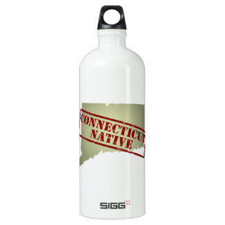 Connecticut Native Stamped on Map Water Bottle