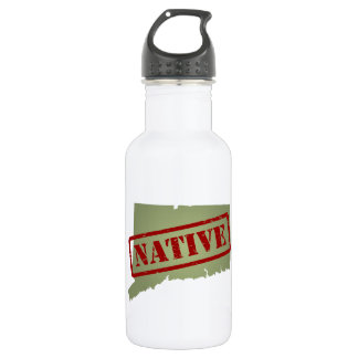 Connecticut Native with Connecticut Map Water Bottle