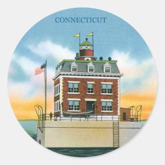 Connecticut New London Ledge Light Classic Round Sticker