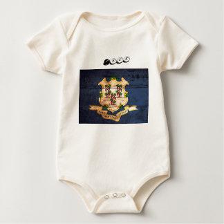 Connecticut old wooden flag souvenir baby bodysuit