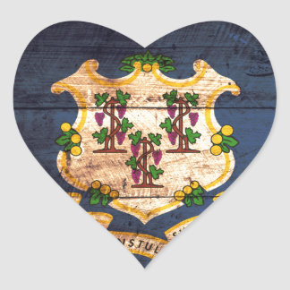 Connecticut old wooden flag souvenir heart sticker