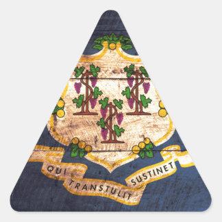Connecticut old wooden flag souvenir triangle sticker