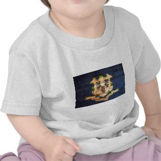 Connecticut old wooden flag souvenir shirts